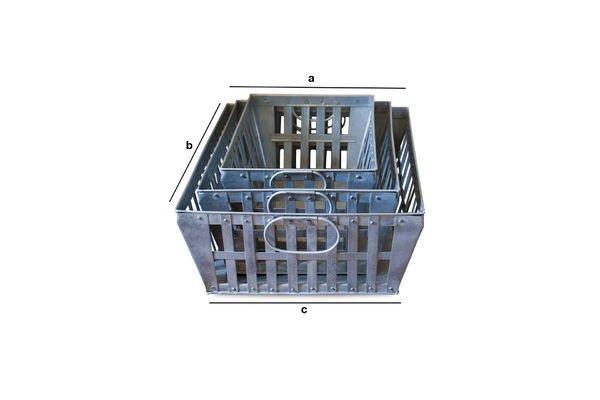 Dimensioni del prodotto Set di Tre Ceste metalliche