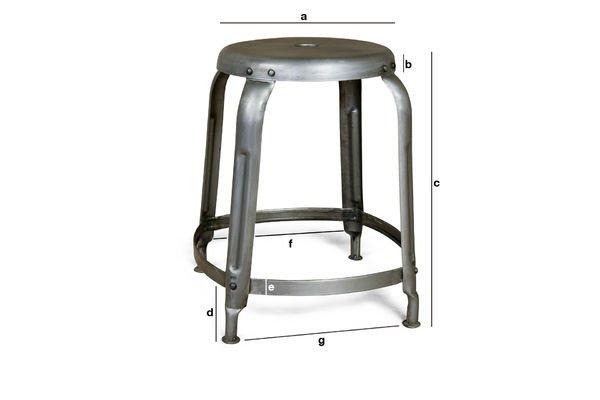Dimensioni del prodotto Sgabello Industrial con rivetti