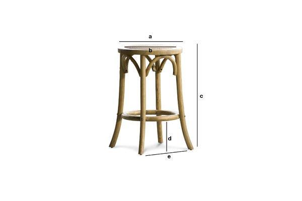 Dimensioni del prodotto Sgabello Pampelune con finiture naturali