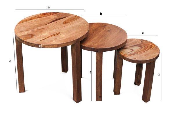 Dimensioni del prodotto Tavolino a tre ripiani Roza