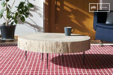 Tavolino basso di tronco d'albero Natural Luka