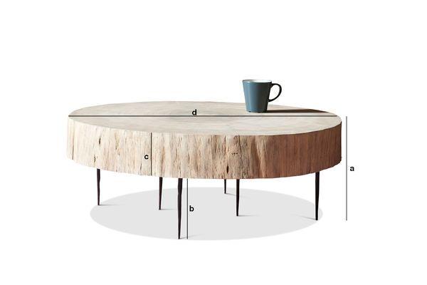 Dimensioni del prodotto Tavolino basso di tronco d'albero Natural Luka