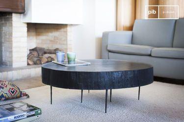 Tavolino basso di tronco d'albero Natural Luka nero