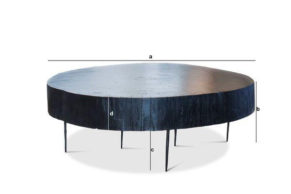 Dimensioni del prodotto Tavolino basso di tronco d'albero Natural Luka nero