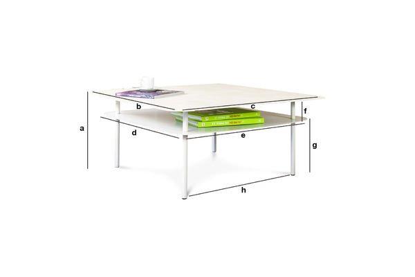 Dimensioni del prodotto Tavolino bianco Holly