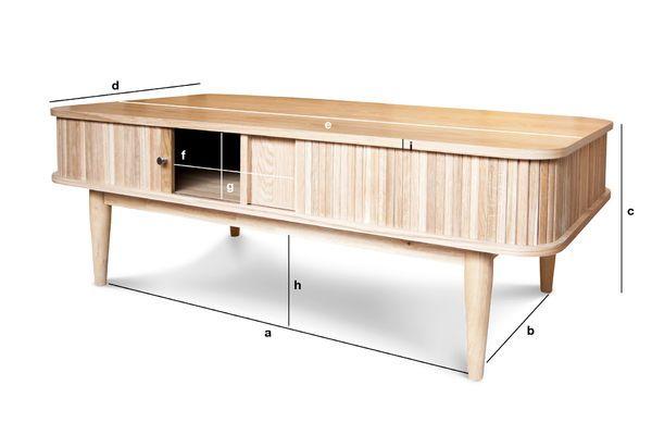 Dimensioni del prodotto Tavolino con chiusura  a tenda RItz