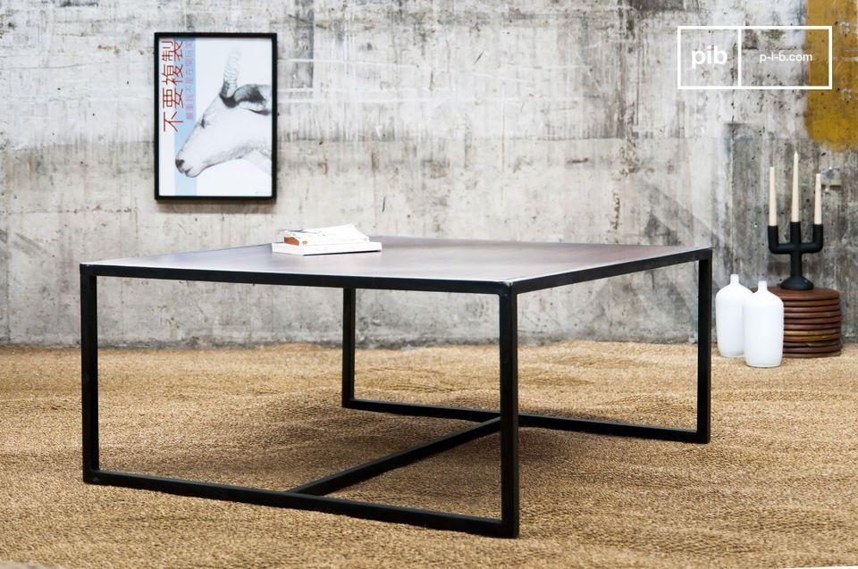 Tavolo basso, 100% metallo e legno