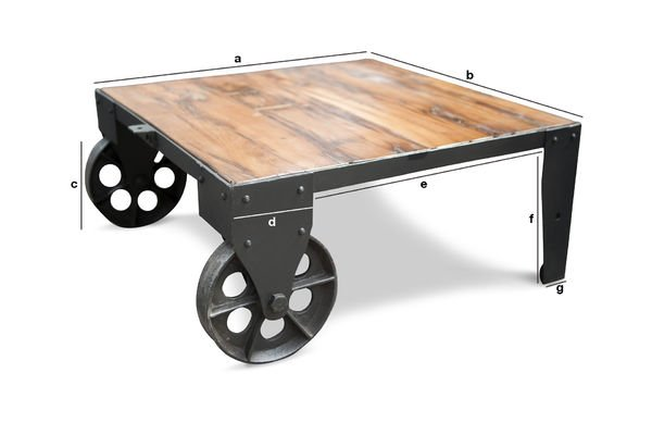 Dimensioni del prodotto Tavolino da salotto stile carrello su rotaia