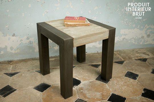 Tavolino occasionale in teak recuperato