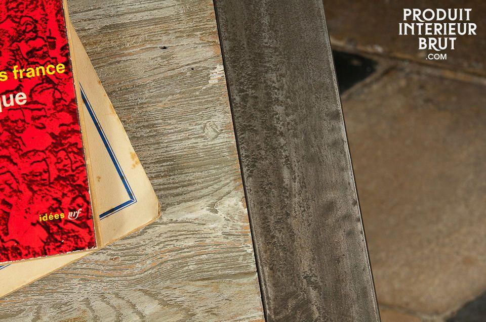 Comodino o tavolino occasionale, 100% acciaio e legno recuperato