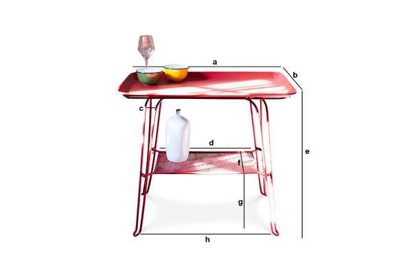 Dimensioni del prodotto Tavolino Scarlet