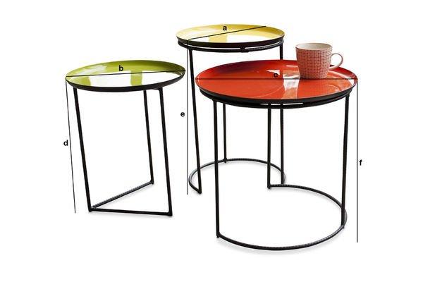 Dimensioni del prodotto Tavolino tricolore Kirk ad incastro