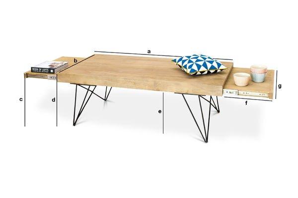 Dimensioni del prodotto Tavolo basso allungabile Zurich