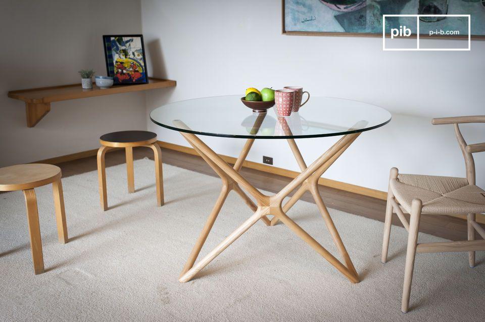Tavolo da pranzo in vetro Estrella - tinto legno massello | pib