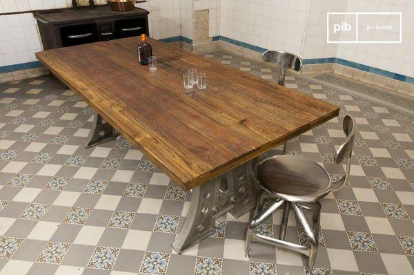 Tavolo Da Pranzo Stile Industriale.Tavolo Da Pranzo Normandy In Acciaio E Legno Pib
