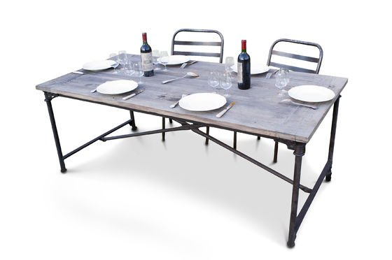 Tavolo in legno d'olmo recuperato Foto ritagliata