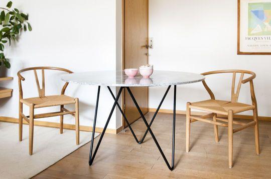 Tavolo rotondo in marmo nero Grimaud