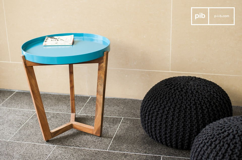 Base in legno di acacia e piano del tavolo rimuovibile