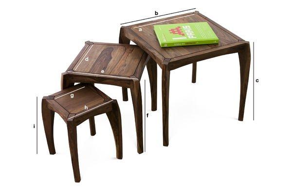 Dimensioni del prodotto Trio di tavolini Luna