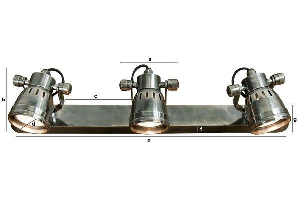 Dimensioni del prodotto Tripla Lampada da parete Bistrò